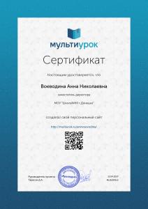 Сертификат Воеводина Анна Николаевна